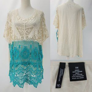 New Directions Open Crochet Front Blouse Top 3X